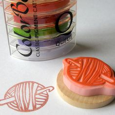 Ball of Yarn with Crochet Hook - Hand Carved Rubber Stamp. $10.00, via Etsy.