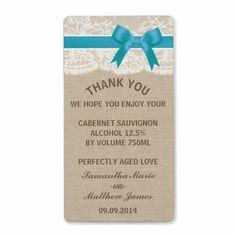 Ivory Lace & Blue Bow On Burlap :: Wedding Wine Custom Shipping Label