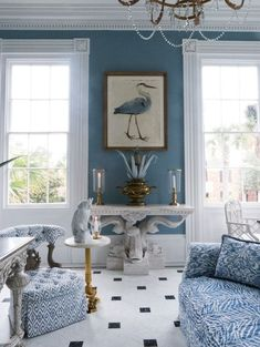 Carolyne Roehm's blue living room in Charleston.