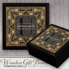 Medieval Art Deco fusion Black Gold Wedding Anniversary Box customizable Gift Box by Webgrrl Anniversary Dates, Wedding Anniversary, Personalised Box, Personalized Gifts, Engagement Presents, Wooden Gift Boxes, Customizable Gifts, Medieval Art, Alternative Wedding