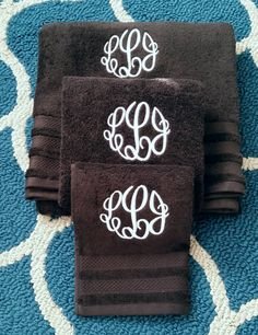 Check out this item in my Etsy shop https://www.etsy.com/listing/228686002/monogrammed-custom-set-of-3-bath-towels