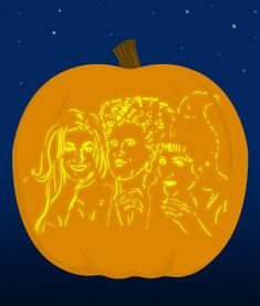 The Sanderson Sisters - submitted by 18 Insanely Clever Pop Culture Stencils To Up Your Pumpkin Carving Game Pumpkin Carving Games, Disney Pumpkin Carving, Amazing Pumpkin Carving, Unique Pumpkin Carving Ideas, Halloween Labels, Disney Halloween, Holidays Halloween, Halloween Crafts, Halloween Makeup