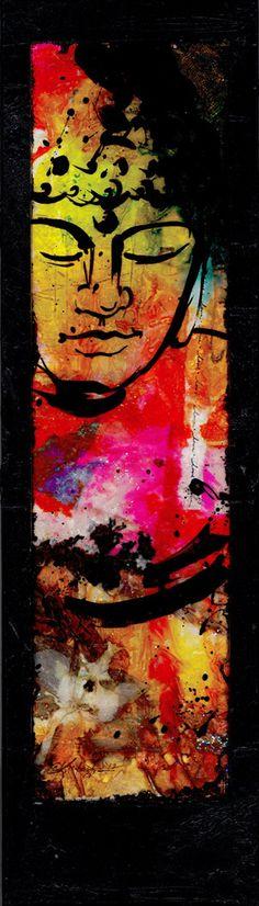 "Buddha Painting, Abstract Zen Art, ""Buddha No.mm53"" ... Original Spiritual mixed media art painting by Kathy Morton Stanion EBSQ"
