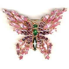 For ladies and gents that like Butterfly jewelry, this one is a beauty. Trifari 'Alfred Philippe' Emerald Amethyst and Pink Topaz Butterfly Pin