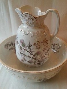 Antique Victorian Wash Stand / Pitcher & Bowl Set, Thistle Pattern
