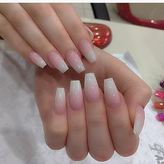 Sheer pink ombré 💗💗💗 natural look White Acrylic Nails, White Nails, Gorgeous Nails, Pretty Nails, Solar Nails, Prom Nails, Aumbre Nails, Coffin Nails, Pink Ombre Nails