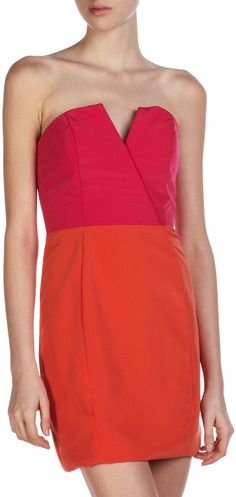 Adria its strapless buuuut i liked the colors Naven Bombshell Two-Tone Dress, Pop Pink/Orange Crush on shopstyle.com