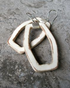 New geometric distressed white leather earrings with textured sterling silver details. Matching cuff, CC120DW - stunning.