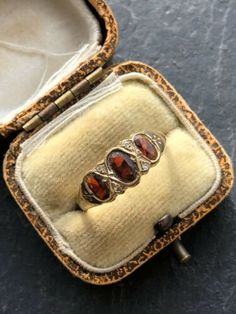 Vintage Yellow Gold Garnet And Diamond 3 Three Stone Ring Band Opal And Sapphire Ring, Yellow Rings, 3 Three, Three Stone Rings, Diamond Cluster Ring, Garnet Rings, Band Rings, Gold, Ebay