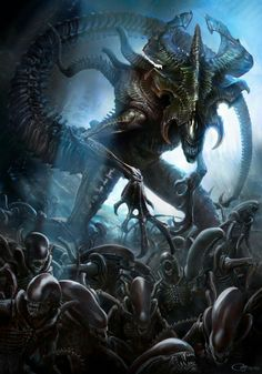 The Xenomorph King is a special type of Alien rarely seen in the Alien lore. Here is a list of all notable Xenomorph Kings like the Rogue Xenomorph, the Hybrid King and the Kenner King Alien Alien Vs Predator, Predator Alien, Les Aliens, Aliens Movie, Xenomorph, Dark Fantasy Art, Alien Creatures, Fantasy Creatures, Giger Alien