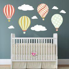 Hot Air Balloon Wall Stickers decalcomania bambini