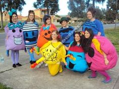 Homemade Little Miss and Mr Men Group Costumes: We made Little Miss and Mr Men Group Costumes for our 'Muck Up Day' celebration to mark the end of our high school years down in Australia - tradition