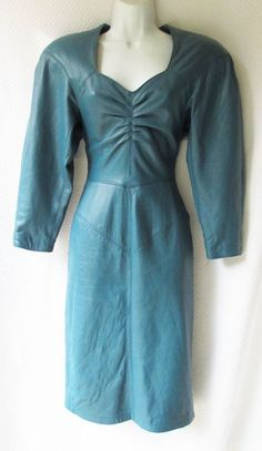 CURVY SEXY Michael Hoban North Beach Leather Ocean Blue Dress Open Back #MichaelHobanNorthBeachLeather