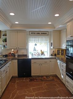 Kitchen Renovation with White Cabinets, Granite, Recessed Lighting 06--beadboard on raised ceiling