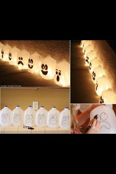 Milk Jug Ghosts  - use BATTERY tea lights,  Christmas lights or glow lights. To make pumpkins, fill with water and orange food color (equal parts red and yellow) and use glow lights.