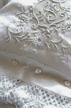antique linens Georgous-Monagram Pillow Cases..decorate and use even if not yours + Ecru + Lace