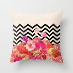 Chevron Flora II Throw Pillow by Bianca Green