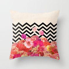 Chevron Flora II Throw Pillow by Bianca Green