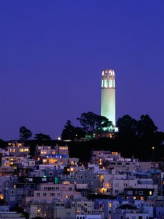 Coit Tower, Telegraph Hill at Dusk, San Francisco, U.S.A. Photographic Print by Thomas Winz at Art.com