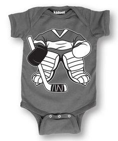 Love this Charcoal Hockey Uniform Bodysuit - Infant by Sporteez on #zulily! #zulilyfinds