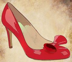 red bow high heel womans shoe clip art digital graphic for scrapbooking altered art greetings cards etc personal and commercial use