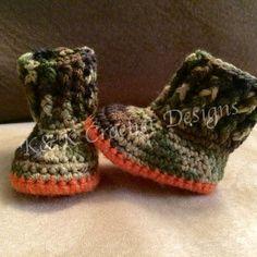 Camo Crochet Baby Boots / Baby Booties