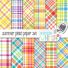 Summer Plaid Digital Paper Pack  plaid by NorthernWhimsyDesign