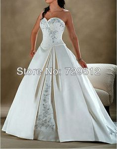 New Arrive 2013 A Line Satin Embroidery Sweetheart Plus Size Wedding Dress with Beads and Sequines Custom Size and Color $168.00