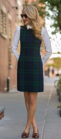 plaid sheath dress with leather trim, white layered button down shirt + brown tassel loafers     http://www.theclassycubicle.com/2014/09/black-watch-plaid.html