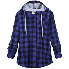 Womens Long Sleeve Single-breasted Plaid Hoodie Blue (44 CAD) ❤ liked on Polyvore featuring tops, hoodies, blue, blue hoodie, hooded pullover, long sleeve hooded sweatshirt, blue hoodies e long sleeve tops