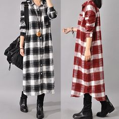 Uk 8-24 Zanzea Women Check Plaid Button Down Long Sleeve Shirt Dress Blouse Tops