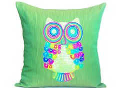 Colorful owl throw pillow shams  18x18 pillow cover  by SABDECO