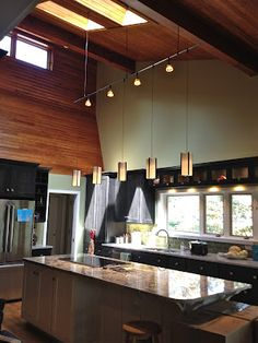 Industrial Kitchen Design With Perimeter Track Lighting