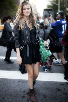 Lindsey Wixson is a natural baby doll beauty in rocker chic street style.
