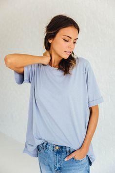 DETAILS: - Cuffed Short Sleeve Solid Tee - 100%COTTON - Model is wearing a small