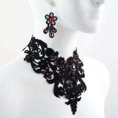Jewelry Set Black Lace and Red Rubies Choker Necklace and Earrings - Victorian… Victorian Jewelry, Gothic Jewelry, Victorian Gothic, Jewelry Sets, Fine Jewelry, Space Jewelry, Red Jewelry, Jewelry Necklaces, Jewellery