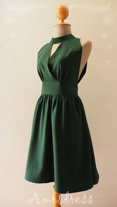 Forest Green Dress Green Bridesmaid Dress Christmas by Amordress Party Dresses For Women, Nice Dresses, Summer Dresses, Party Fashion, Boho Fashion, Forest Green Dresses, Green Party Dress, Dress Outfits, Fashion Dresses