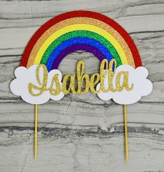 This Rainbow cake topper in primary glitter colors is a perfect addition to the cake at your little ones rainbow theme birthday or a rainbow baby shower. Rainbow First Birthday, Rainbow Theme, Rainbow Baby, Unicorn Birthday, Baby Birthday, Cake Rainbow, Summer Crafts For Kids, Birthday Cake Toppers, Cupcake Toppers