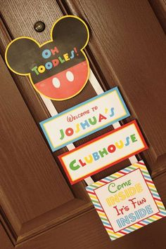 Josh's 3rd Mickey Mouse Clubhouse Birthday Party Hanging Welcome Sign | Decorating Ideas CatchMyParty.com #MickeyMouse