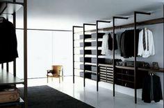 Walk in Closet Design for Surprising Gift : Black Carpet Open Cloth Shelves Walk In Closet Design