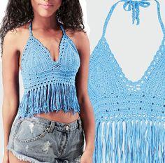 Luce blu uncinetto Bikini Top Bikini con frange Tops Costumi