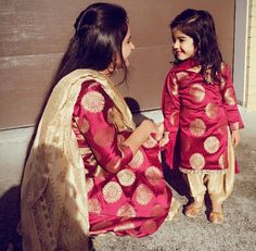 Mother & Daughter Matching Outfits for Wedding Party Mom Daughter Matching Dresses, Mom And Baby Dresses, Dresses Kids Girl, Kids Outfits, Girly Outfits, Salwar Kurta, Indian Salwar Kameez, Anarkali, Patiala Suit