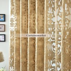 Beautiful Yarn Patterned Dark Gold Sheer Curtains