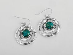 Shablool Didae Silver Earrings Dangle With Cabochon Stone Green Turquoise Shape