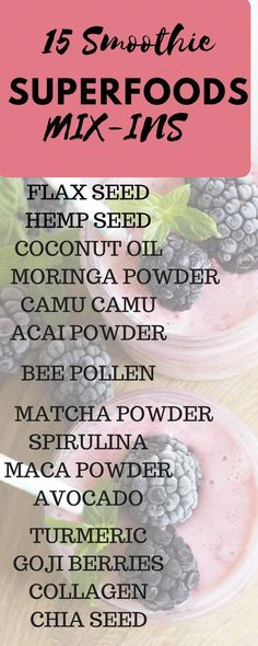 List of the top Healthy Superfood additives for your Smoothies. These superfoods are easy to add-in and aid weight loss and healthy nutrition. Such as chia seeds, matcha powder, turmeric and so many more. Give your Fitness and healthy lifestyle a boost! Superfood Salad, Superfood Recipes, Smoothie Recipes, Nutribullet Recipes, Drink Recipes, Juice Recipes, Healthy Detox, Healthy Smoothies, Healthy Nutrition