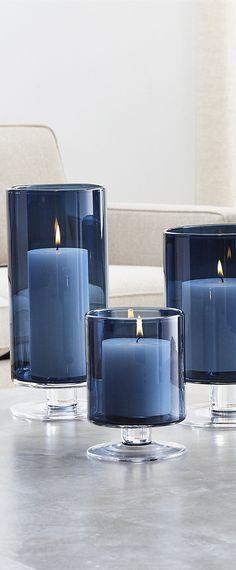 London Blue Hurricane Candles | Home Decor