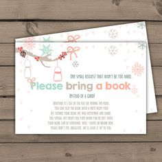 Baby shower Bring a book card Baby its cold door Anietillustration