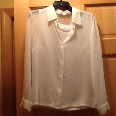 Sheer winter white blouse with matching tank - new Brand new winter white sheer blouse with matching tank.  Decorative beading around buttons, by style and co.  Size 6. Nwt.  Non smoking house Style & Co Tops Tank Tops