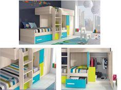 Dormitorio juvenil / Bunk Beds  Litera con peldaños anchos, armario gran capacidad y bordes redondeados para evitar enganches. http://www.decorhaus.es/es/