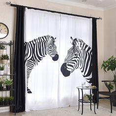 Black and White Zebra Print Funky Cool Custom Curtains Zebra Curtains, Cool Curtains, How To Make Curtains, Custom Curtains, Emerald Green Curtains, Zebra Print, Animal Print Rug, Curtain Length